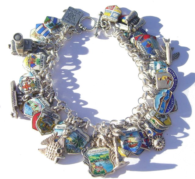 Caribbean Travel Shield Charm Bracelet - Click Image to Close