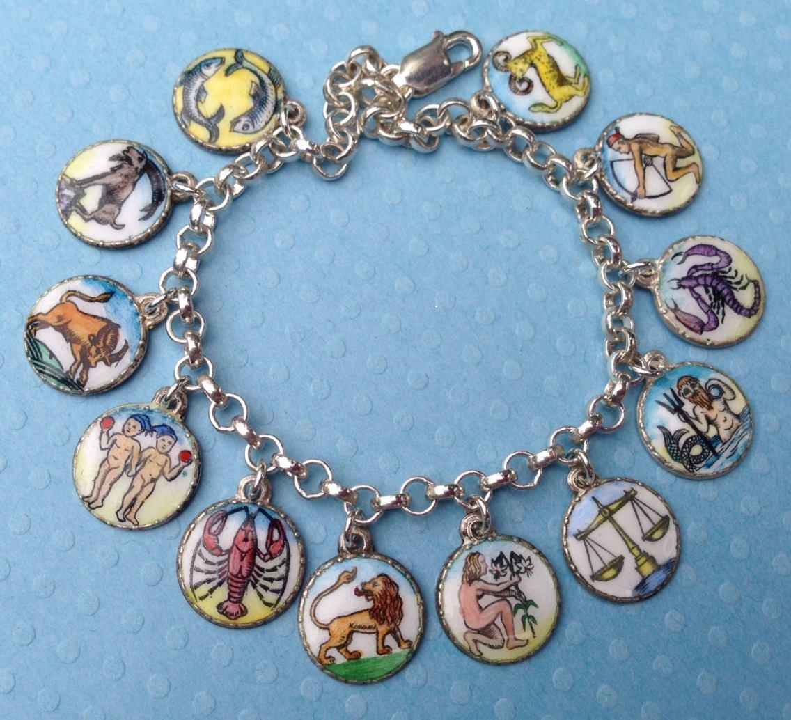 Echarmony Charm Bracelet Collection Enamel German Zodiac Charms Colorful