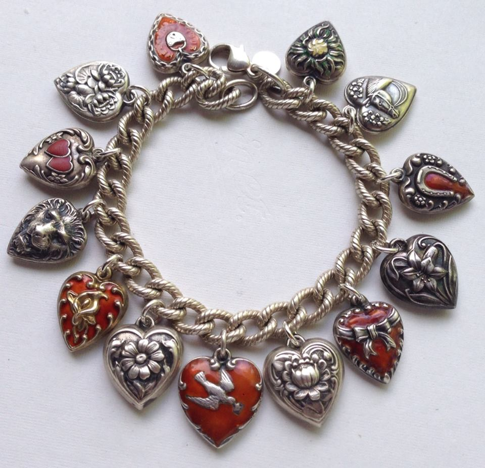 Echarmony Charm Bracelet Collection  Vintage Red Puffy Hearts