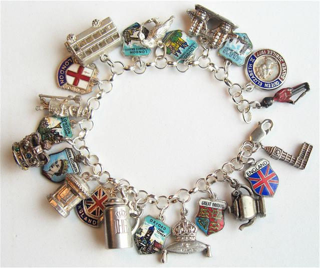 London, England Shield Charm Bracelet