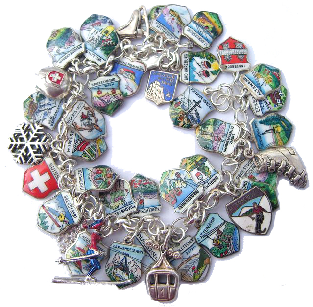 Ski Theme - Shield Charm Bracelet