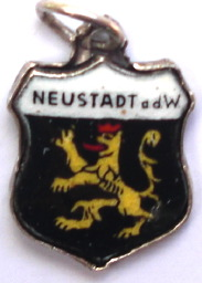 NEUSTADT, Germany - Vintage Silver Enamel Travel Shield Charm - Click Image to Close