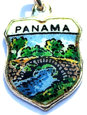 Panama - Vintage Enamel Map Charm - Click Image to Close