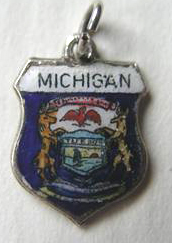 Michigan - State Seal Travel Shield Charm - Sterling Silver - Click Image to Close